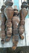 ⭐4antique Wooden Table Legs W/casters Ship Free 😃