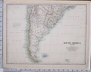 1889 Large Antique Map South America Southern Sheet Laplata Uruguay Chile