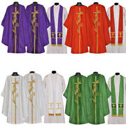 Priest Pastor Chasubles Eucharistic Embroidere Set Of 4 - Vestment And Stole Sets
