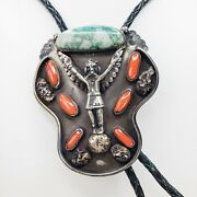 Native American Navajo Kachina Eagle Dancer Turquoise And Coral Bolo Tie 1970's