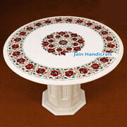 30antique Marble Table Top With Stand Coffee Corner Inlay Malachite Inlay Decor