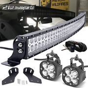 For 17+ Can-am Maverick X3 Max Roof 40 Curved Led Bar+light Pod Brackets Wire