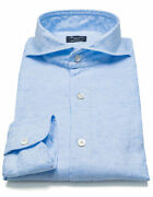 Finamore 1925 Canvas Shirt In Light Blue With Shark Collar/regeur260