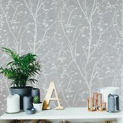 Cream Gray Silver Metallic Square Tiles Textured Floral Branches Wallpaper Rolls