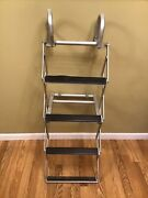 Wesbar Stowaway Aluminum 4 Step Boat Ladder Made In The Usa W/grab Rings 104394