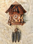 Large 8 Day Vintage Germany Strike Cuckoo Clock ,swiss Musical,3 Weight Driven