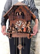 Large 8 Day Vintage Germany Strike Cuckoo Clock Swiss Musical3 Weight Driven