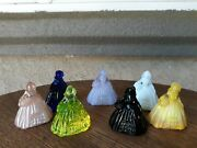 7 Vintage Boyd Glass Miniature Southern Belle Figurines Assorted Colors Mint