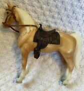 Old Vtg Palamino Toy Horse Saddle Bridle Revell Approx 7.5x8.5 Trigger Look Al