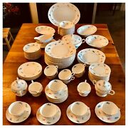 Lot Of 100 Pieces Of Antique Pope Gosser China Florence - Pink Floral Gold Trim