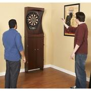 New Bluewave Ng1040 Outlaw Free Standing Dartboard And Cabinet Set-cherry Finish
