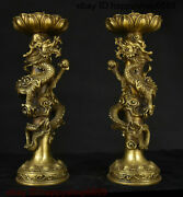 Folk China Copper Brass Dragon Loong Beast Candle Holder Candlestick Statue Pair