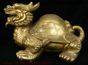 Chinese Brass Copper Fengshui Wealth Animal Dragon Tortoise Loong Turtle Statue