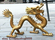 China Brass Copper Fengshui 12 Zodiac Year Dragon God Loong Animal Beast Statue