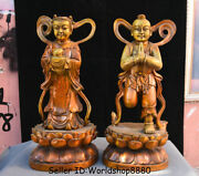 19.2 Old Chinese Red Copper Stand Tongzi Kids Boy Girl Lotus Lucky Statue Pair
