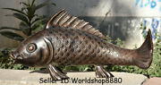 28.4 Antique Chinese Bronze Folk Feng Shui Fish Barracuda Lucky Wealth Statue
