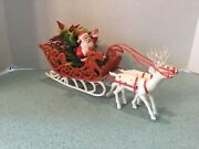 Vintage 1960andrsquos Christmas Plastic Santa And Sleigh With Two Reindeer