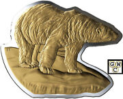 2020 And039polar Bear-real Shapesand039 Gold-plated 50 Fine Silver Coin 100gm18825 Ooak