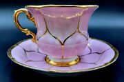 Meissen Porcelain Pink B-form Cup And Saucer Set - Very Rare