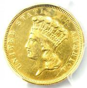 1854-o Three Dollar Indian Gold Coin 3 - Pcgs Xf Details Ef - Rare O Mint