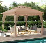 Steel Gazebo Pop Up Portable Brown Canopy 11' X 11' Enclosed Mosquito Netting
