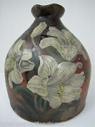Antique Stoneware Syrup Jug Batter Pitcher W Handle Hand Painted Flowers Floral