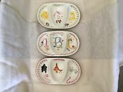Stangl Pottery Kiddieware Set Of 3 Divided Dish Abc Kitten Capers Barnyard