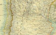 1891 Antique Map South America Southern Falkland Islands Uruguay Chile