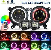 For Jeep Wrangler Jl 18-20 Halo Rgb 7and039and039 Led Headlights And 4 Work Light Combo Kit