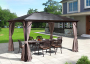 10and039x12and039 Outdoor Hardtop Polycarbonate Gazebo Canopy Curtains Aluminum Frame New