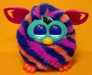 Hasbro Furby Boom Diagonal Stripes Pink Talking Interactive Toy Partially Works