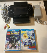 Nintendo Wii U 32gb Console Wup-10102 Black Gamepad Cleaned Tested W/ 2 Games