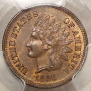 1866 Indian Cent, Choice Uncirculated Pcgs/cac Ms-64bn, Unlisted Rpd, Nice Coin