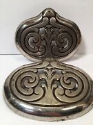 Pair Nickel Plated Cast Iron Ornate Shelves Parts For An Antique Stove
