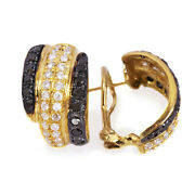 3 Ctw Natural Black Diamond Solid 14k Yellow Gold Wide Omega Back Earrings 22 Mm