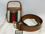 Waist Pouch Bag With Belt Web Line Canvas Leather Brown Rare From Japan