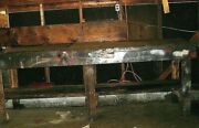Vintage Industrial Workbench W/bolted Heavy Wood 9 Ft. Littlestown Vise 450