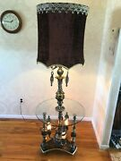 Glass Table Floor Lamp Mid-century 70and039s Gothic Antique Vintage Crystal