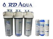 Clear Npt 3/4 Port Whole House Water Filter System 3 Stage 2.5 X 10 Rvs..
