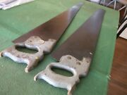 2 Primitive Disston Vintage Wood Handle Fine Cut Hand Saws