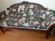 Antique Couch Sofa Victorian Upholstered Vintage Home Furniture Hand Carved