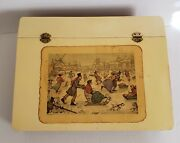 Anton Pieck 1971 D.a.c. N.y. Print Hinged Lid Slant Top Wood Writing Lap Desk
