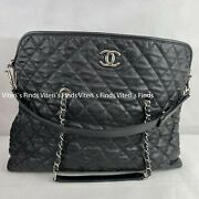 Auth Large 2way Black Caviar Leather Silver Hardware Tote Shoulder Bag
