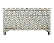 Bone Inlay Chest Of 7 Drawers Chevron Design In Grey Color With Insurance Home D
