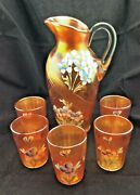 Rare Antique Fenton Carnival Glass Marigold Forget-me-not 6 Piece Water Set