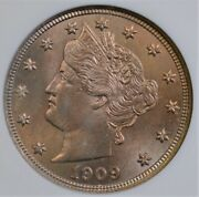 1909 Liberty V Nickel Small White Anacs Ms 64 Gorgeous Rose Gold Luster