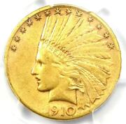 1910-s Indian Gold Eagle 10 - Certified Pcgs Xf45 Ef45 - Rare Coin