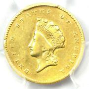 1855-o Type 2 Indian Gold Dollar G1 Coin - Pcgs Genuine - Vf / Xf Details