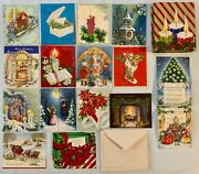 Collection Of 15 Gorgeous Vintage Christmas Cards With Envelopes Unused In Box