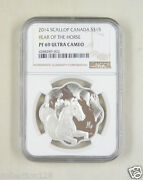 Canada Silver Coin 15 Dollar 2014 Lunar Lotus - Year Of The Horse Ngc Pf 69